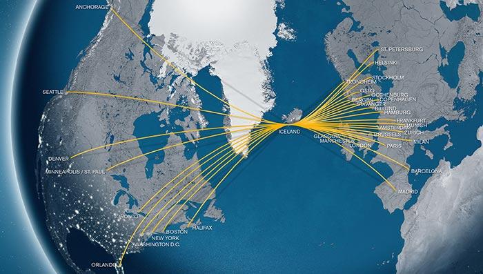 Routemap Icelandair